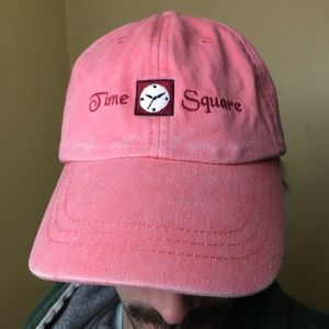 Neon Pink Vintage Time Square Hat Leather Strap